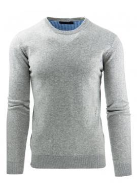 Klasický pánsky sveter s okrúhlym výstrihom tmavomodrej farby