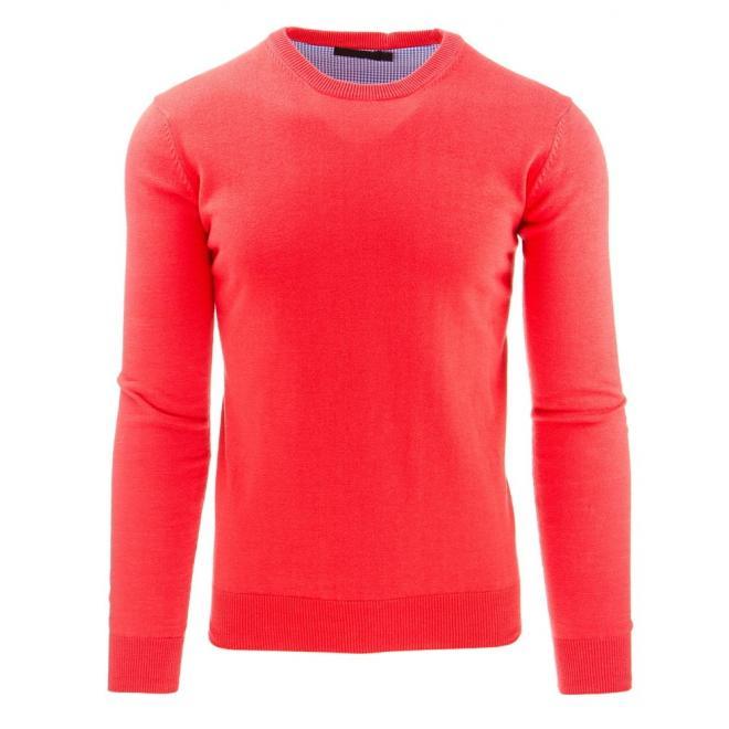Klasický oranžový sveter s okrúhlym výstrihom