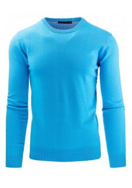 Tyrkysový pánsky sveter s okrúhlym výstrihom