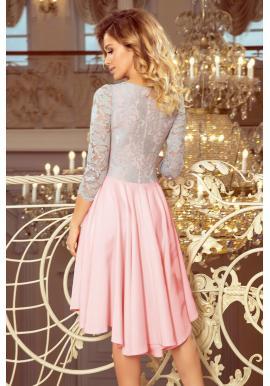 Ružovo-sivé asymetrické šaty s čipkovaným výstrihom pre dámy