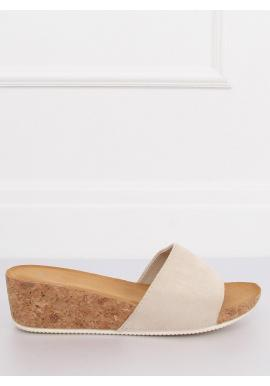 Béžové semišové šľapky na korkovej platforme pre dámy
