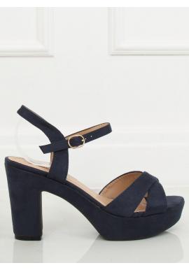 Dámske semišové sandále na stabilnom podpätku v tmavomodrej farbe