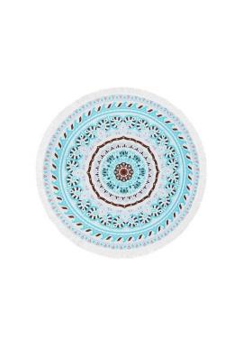Okrúhly plážový ručník tyrkysovej farby so vzorom