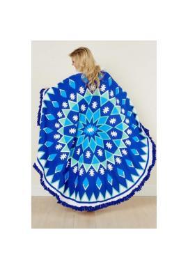 Okrúhly plážový ručník modrej farby so vzorom