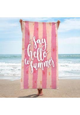 Plážový ručník ružovej farby s letnou potlačou