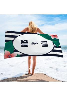 Čierno-biely plážový ručník s potlačou