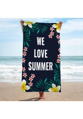 Čierny plážový ručník s tropickým motívom