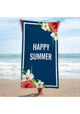 Plážový ručník tmavomodrej farby s letnou potlačou