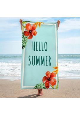 Plážový ručník tyrkysovej farby s letnou potlačou