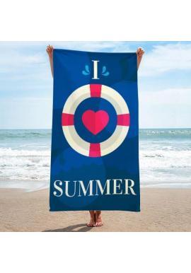 Tmavomodrý plážový ručník s potlačou