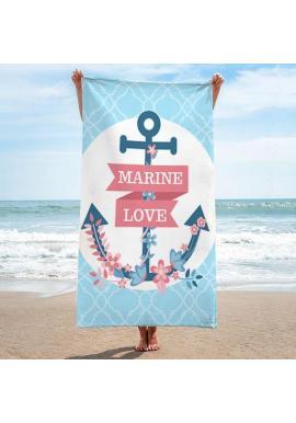 Tyrkysový plážový ručník s potlačou