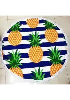 Farebný okrúhly plážový ručník s ananásovým motívom