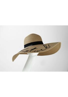 Béžový slamený klobúk s flitrovým nápisom Do not disturb