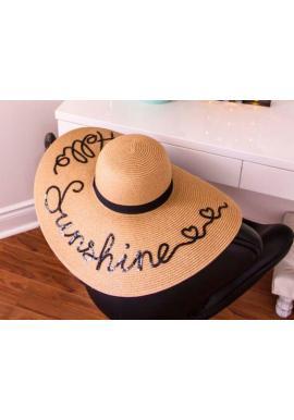 Béžový slamený klobúk s flitrovým nápisom Hello Sunshine