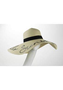 Slamený klobúk krémovej farby s flitrovým nápisom Hello Sunshine