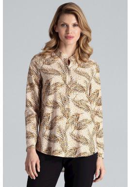 Dámska vzorovaná košeľa s dlhým rukávom v béžovej farbe
