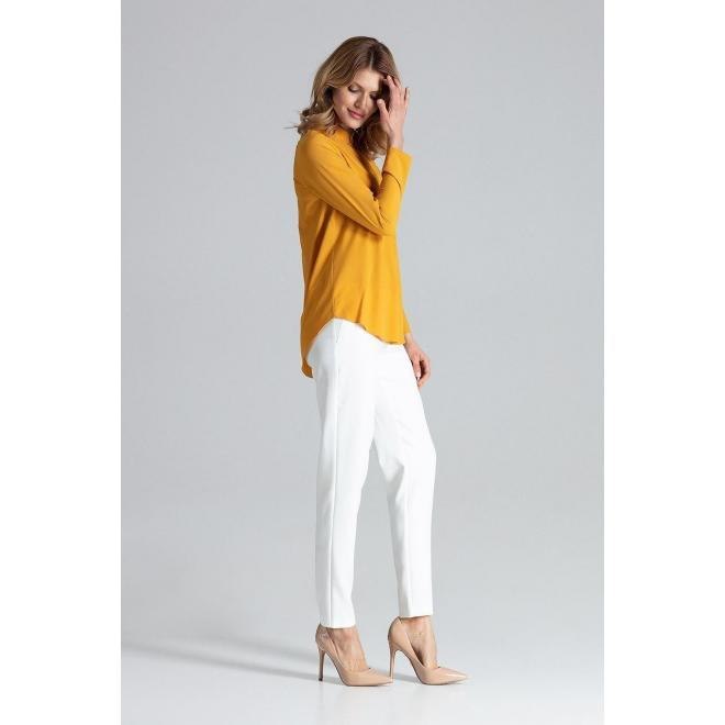 Klasická dámska košeľa horčicovej farby s dlhým rukávom