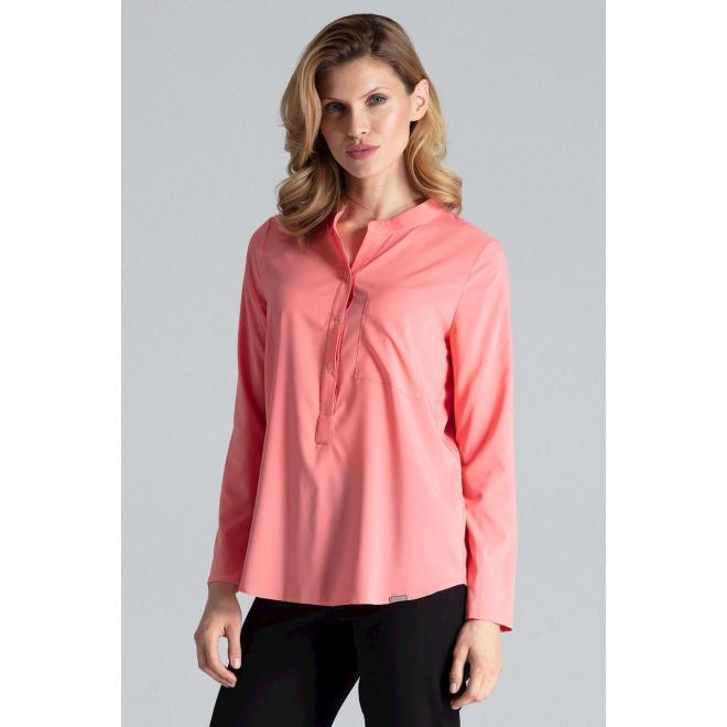 Korálová klasická košeľa s dlhým rukávom pre dámy