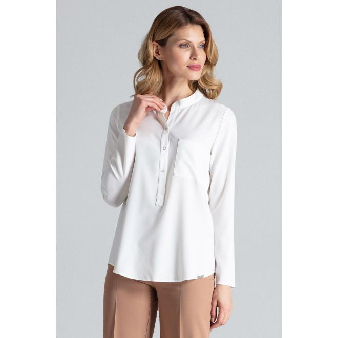 Dámska klasická košeľa s dlhým rukávom v bielej farbe