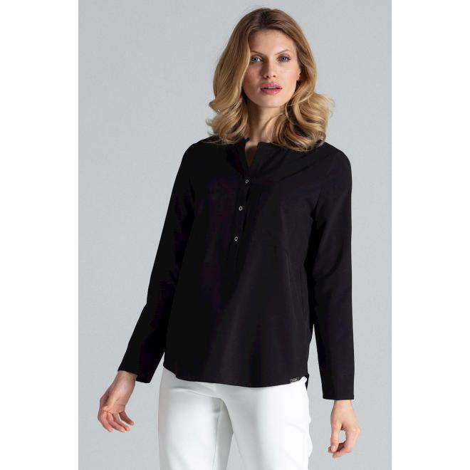 Klasická dámska košeľa čiernej farby s dlhým rukávom