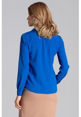 Modrá elegantná košeľa s dlhým rukávom pre dámy