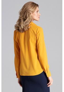 Dámska elegantná košeľa s dlhým rukávom v horčicovej farbe
