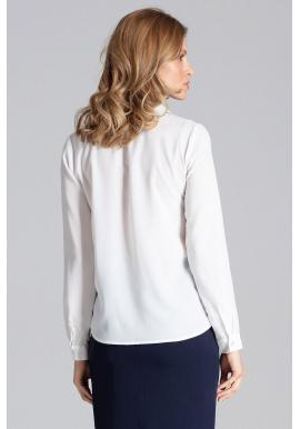Elegantná dámska košeľa bielej farby s dlhým rukávom