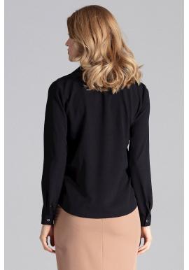 Čierna elegantná košeľa s dlhým rukávom pre dámy
