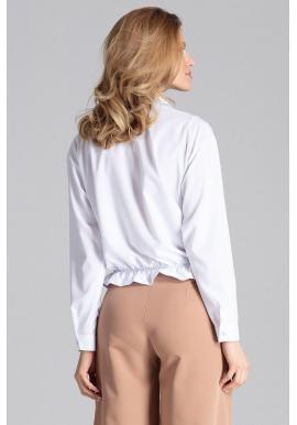 Módna dámska košeľa bielej farby s viazaním