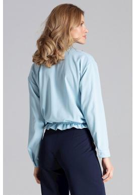 Svetlomodrá módna košeľa s viazaním pre dámy