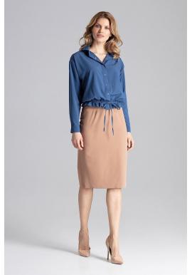 Dámska módna košeľa s viazaním v tmavomodrej farbe