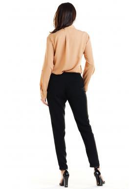 Hnedá klasická košeľa so zlatými gombíkmi pre dámy