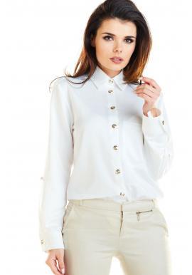 Klasická dámska košeľa bielej farby so zlatými gombíkmi