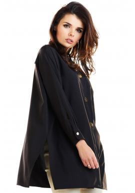 Oversize dámska košeľa čiernej farby s dlhým rukávom