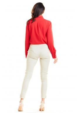 Červená klasická košeľa s vreckami na hrudi pre dámy