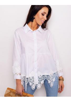 Dámska štýlová košeľa s čipkou v bielej farbe