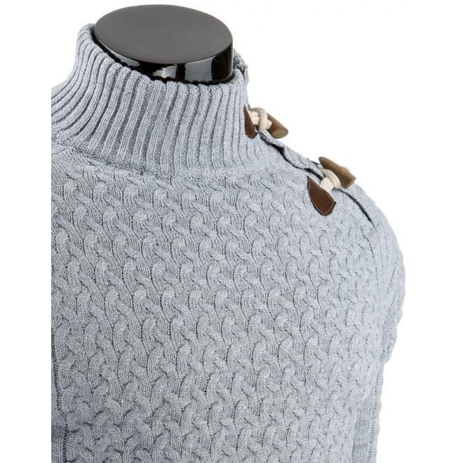 Sveter pre pánov v sivej farbe s kolíkmi pri golieri