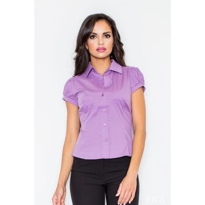 Klasická dámska košeľa svetlofialovej farby s krátkym rukávom