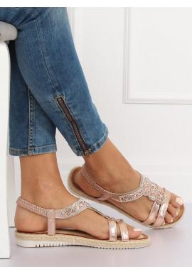 Dámske zdobené sandále v ružovej farbe
