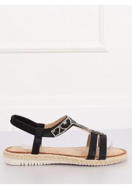 Zdobené dámske sandále čiernej farby