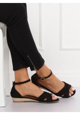 Čierne semišové sandále na nízkej platforme pre dámy