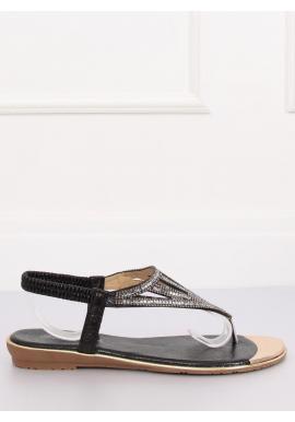Dámske módne sandále s kamienkami v čiernej farbe