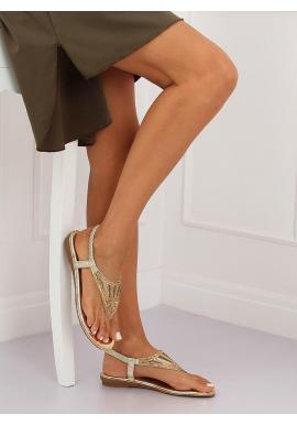 Zlaté módne sandále s kamienkami pre dámy