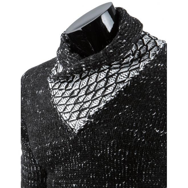 Pánsky tmavosivý sveter s kolíkmi pri golieri