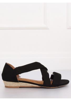 Dámske semišové sandále na nízkej platforme v čiernej farbe