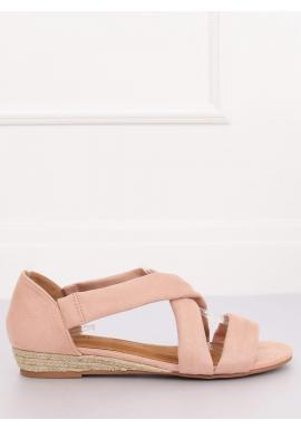 Ružové semišové sandále na nízkej platforme pre dámy