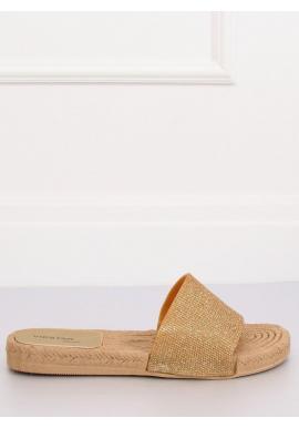Zlaté trblietavé šľapky pre dámy