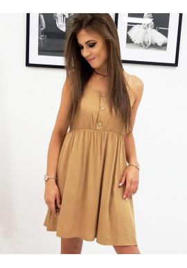 Dámske letné šaty na ramienka v hnedej farbe