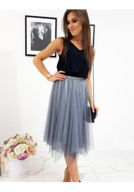 Sivá dvojvrstvová sukňa s brokátom pre dámy