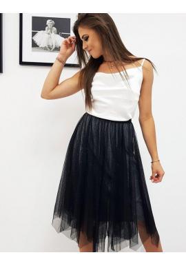 Dámska dvojvrstvová sukňa s brokátom v čiernej farbe